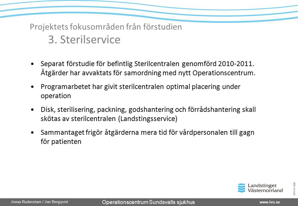Operationscentrum Sundsvalls sjukhus www.lvn.se Jonas Rudenstam / Jan Bergqvist 2015-03-30/jb Projektets fokusområden från förstudien 3. Sterilservice