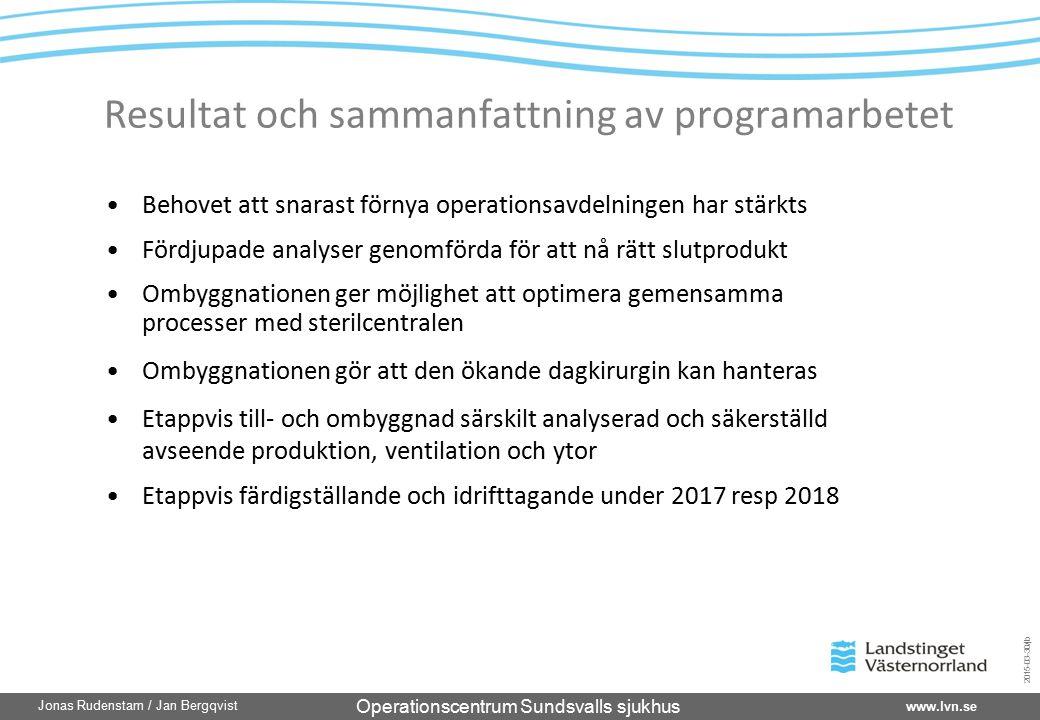 Operationscentrum Sundsvalls sjukhus www.lvn.se Jonas Rudenstam / Jan Bergqvist 2015-03-30/jb Resultat och sammanfattning av programarbetet Behovet at