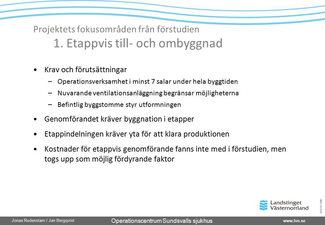 Operationscentrum Sundsvalls sjukhus www.lvn.se Jonas Rudenstam / Jan Bergqvist 2015-03-30/jb Projektets fokusområden från förstudien 1. Etappvis till