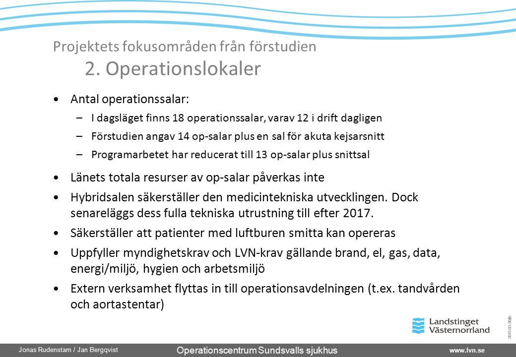 Operationscentrum Sundsvalls sjukhus www.lvn.se Jonas Rudenstam / Jan Bergqvist 2015-03-30/jb Projektets fokusområden från förstudien 2. Operationslok