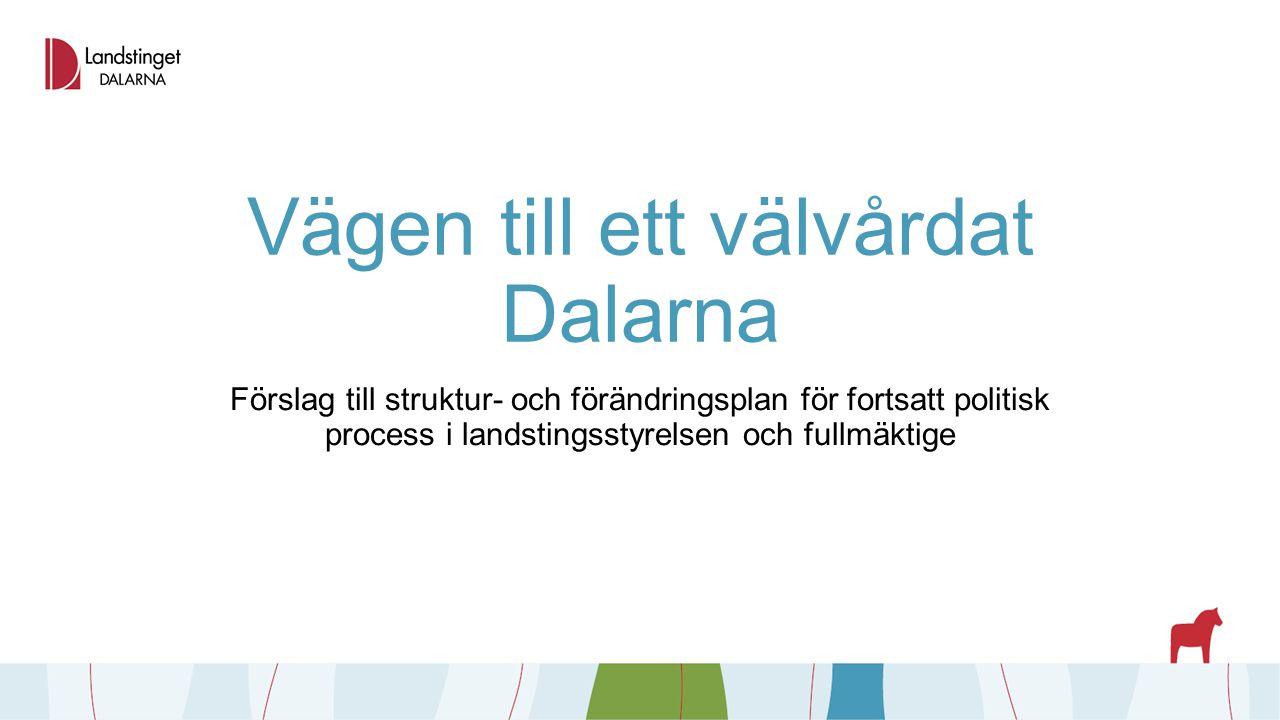 Vägen till ett välvårdat Dalarna Förslag till struktur- och förändringsplan för fortsatt politisk process i landstingsstyrelsen och fullmäktige