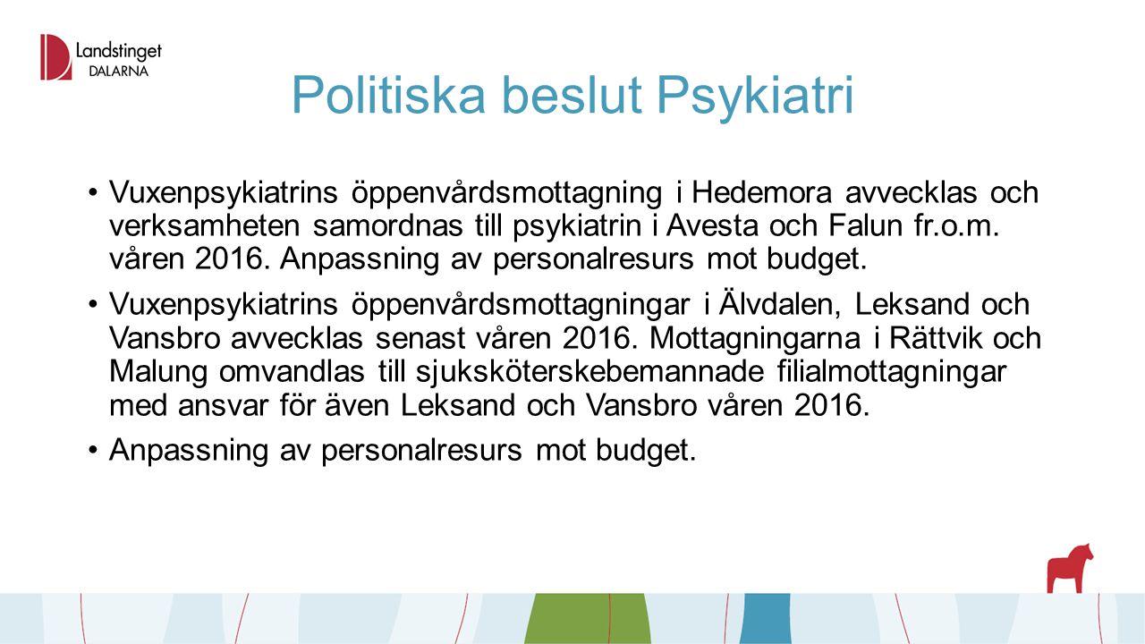 Politiska beslut Psykiatri Vuxenpsykiatrins öppenvårdsmottagning i Hedemora avvecklas och verksamheten samordnas till psykiatrin i Avesta och Falun fr