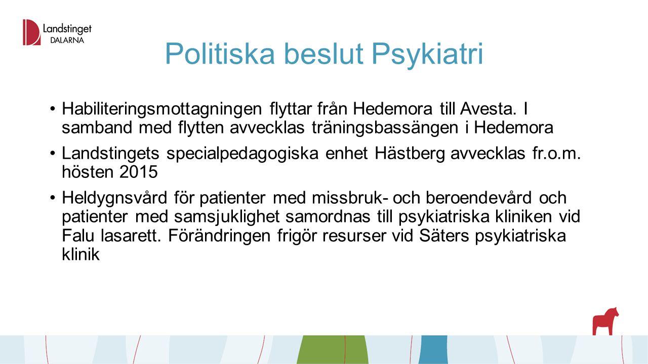 Politiska beslut Psykiatri Habiliteringsmottagningen flyttar från Hedemora till Avesta. I samband med flytten avvecklas träningsbassängen i Hedemora L
