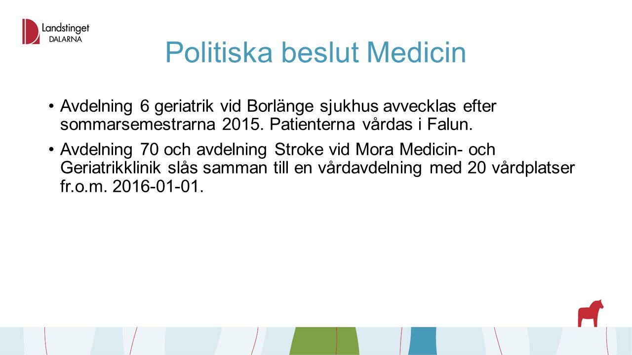 Politiska beslut Medicin Avdelning 6 geriatrik vid Borlänge sjukhus avvecklas efter sommarsemestrarna 2015. Patienterna vårdas i Falun. Avdelning 70 o