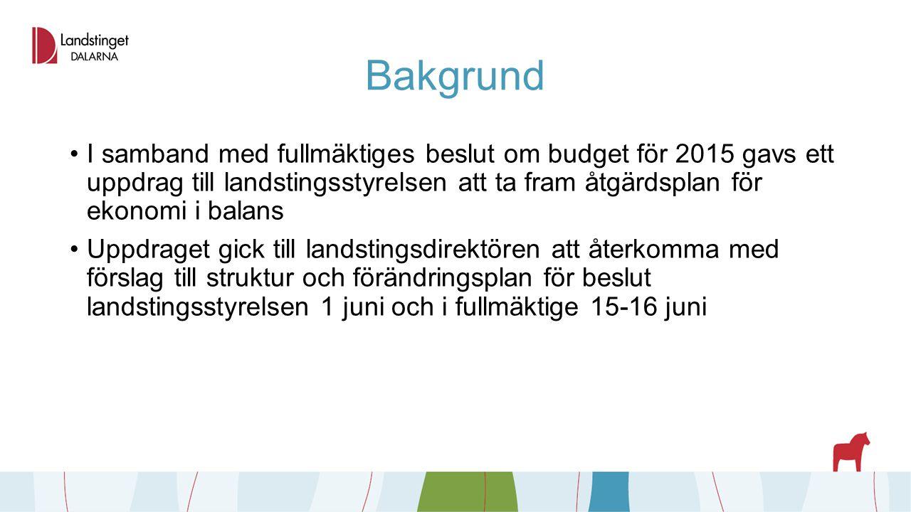 Bakgrund I samband med fullmäktiges beslut om budget för 2015 gavs ett uppdrag till landstingsstyrelsen att ta fram åtgärdsplan för ekonomi i balans U