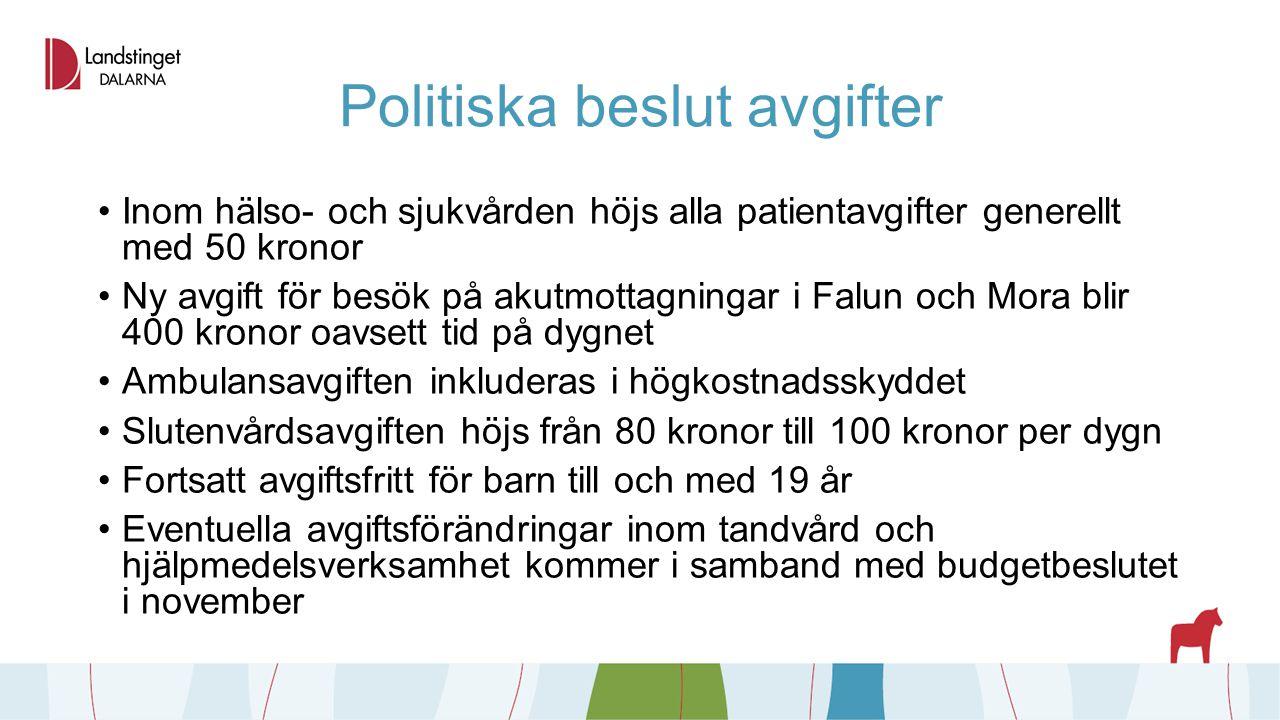 Politiska beslut avgifter Inom hälso- och sjukvården höjs alla patientavgifter generellt med 50 kronor Ny avgift för besök på akutmottagningar i Falun