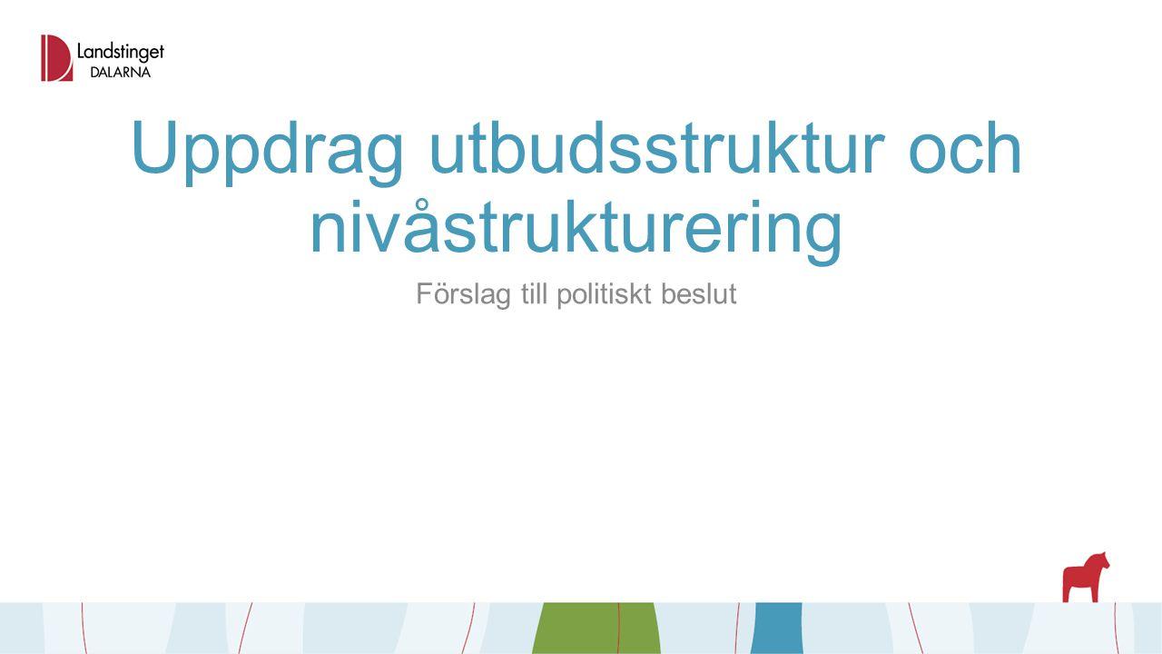 Uppdrag utbudsstruktur och nivåstrukturering Förslag till politiskt beslut