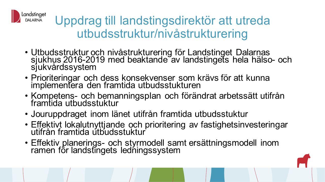 Uppdrag till landstingsdirektör att utreda utbudsstruktur/nivåstrukturering Utbudsstruktur och nivåstrukturering för Landstinget Dalarnas sjukhus 2016