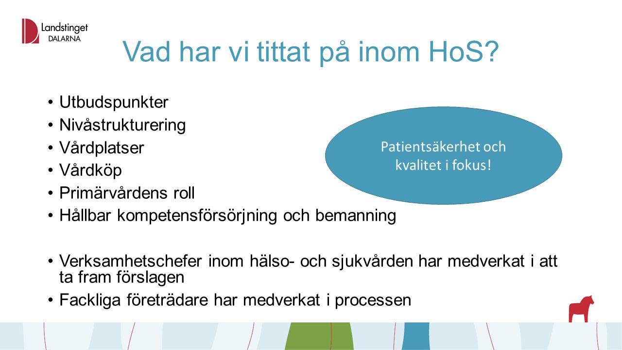 Vad har vi tittat på inom HoS? Utbudspunkter Nivåstrukturering Vårdplatser Vårdköp Primärvårdens roll Hållbar kompetensförsörjning och bemanning Verks
