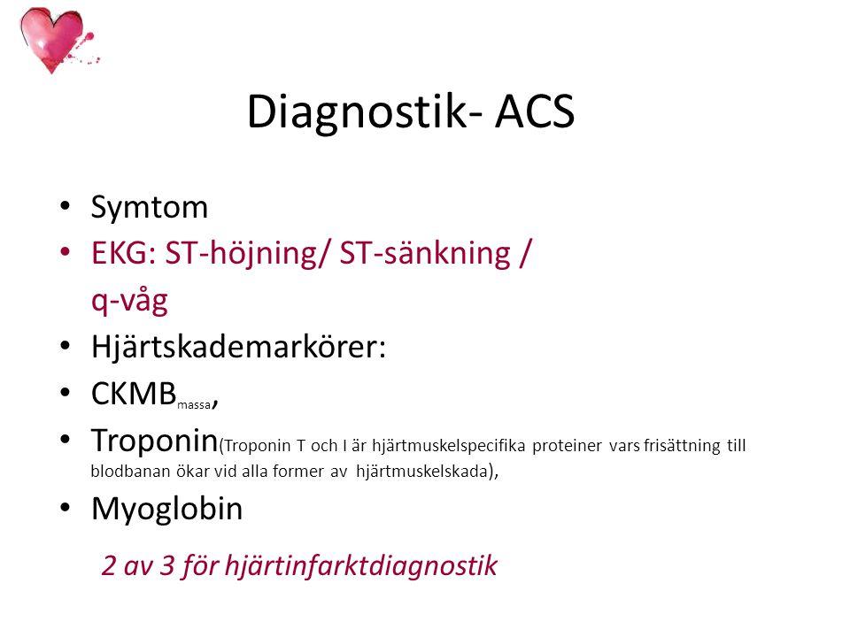 Diagnostik- ACS Symtom EKG: ST-höjning/ ST-sänkning / q-våg Hjärtskademarkörer: CKMB massa, Troponin (Troponin T och I är hjärtmuskelspecifika protein