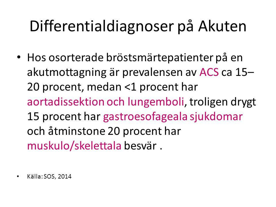 Differentialdiagnoser på Akuten Hos osorterade bröstsmärtepatienter på en akutmottagning är prevalensen av ACS ca 15– 20 procent, medan <1 procent har