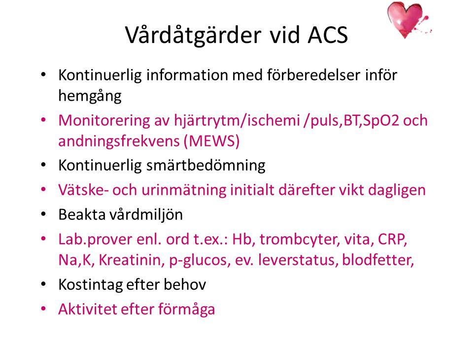 Vårdåtgärder vid ACS Kontinuerlig information med förberedelser inför hemgång Monitorering av hjärtrytm/ischemi /puls,BT,SpO2 och andningsfrekvens (ME