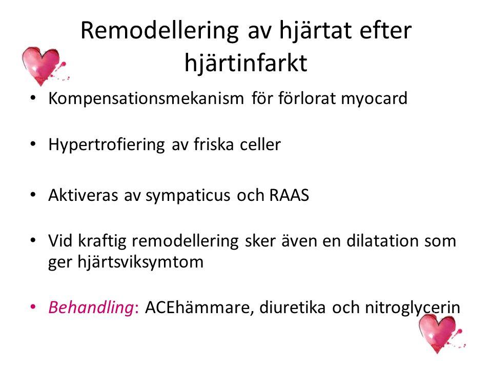 Remodellering av hjärtat efter hjärtinfarkt Kompensationsmekanism för förlorat myocard Hypertrofiering av friska celler Aktiveras av sympaticus och RA