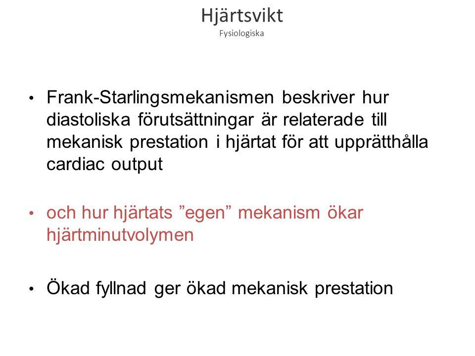 Hjärtsvikt Fysiologiska Frank-Starlingsmekanismen beskriver hur diastoliska förutsättningar är relaterade till mekanisk prestation i hjärtat för att u