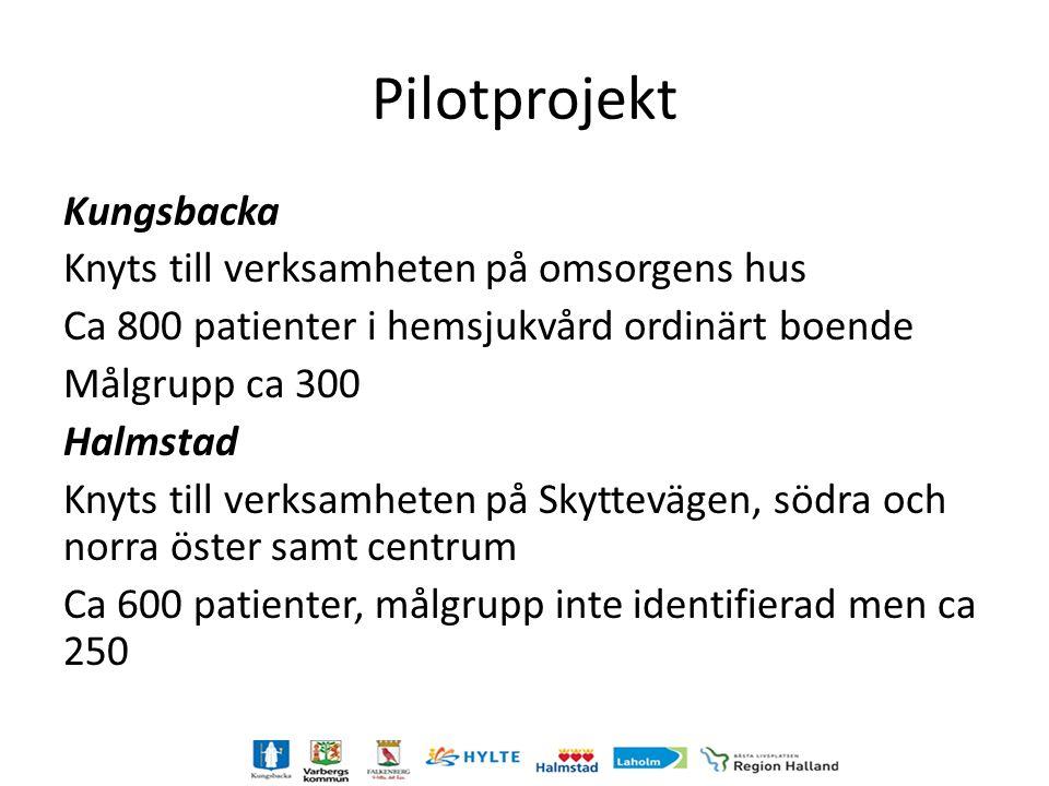 Pilot projekt Modellen och underlaget utvecklas och utvärderas under pilotprojekten Viktigt att de kommuner dit piloterna förläggs satsar och är delaktiga i utvecklingen av arbetssättet Arbetssättet följs för att möjliggöra en bra utvärdering Start 150504, drivs i projektform året ut