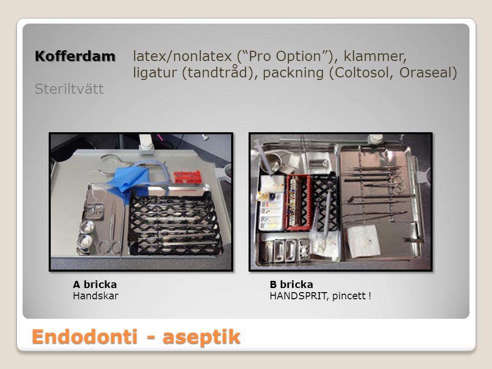 """Endodonti - aseptik Kofferdam Kofferdamlatex/nonlatex (""""Pro Option""""), klammer, ligatur (tandtråd), packning (Coltosol, Oraseal) Steriltvätt A brickaB"""