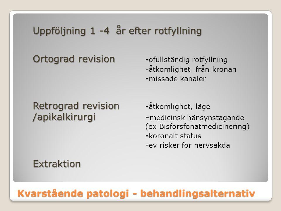 Kvarstående patologi - behandlingsalternativ Uppföljning 1 -4 år efter rotfyllning Ortograd revision - Ortograd revision - ofullständig rotfyllning -