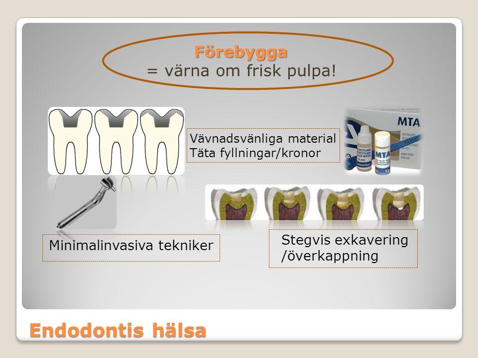 Endodontis hälsa Förebygga = värna om frisk pulpa! Minimalinvasiva tekniker Stegvis exkavering /överkappning Vävnadsvänliga material Täta fyllningar/k