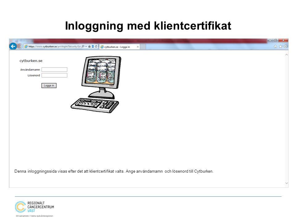 Inloggning med klientcertifikat Denna inloggningssida visas efter det att klientcertifikat valts. Ange användarnamn och lösenord till Cytburken.