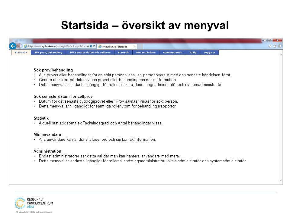 Startsida – översikt av menyval Sök prov/behandling Alla prover eller behandlingar för en sökt person visas i en personöversikt med den senaste händel