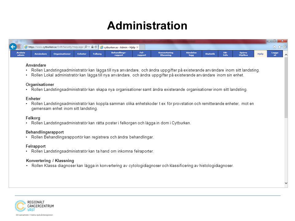 Administration Användare Rollen Landstingsadministratör kan lägga till nya användare, och ändra uppgifter på existerande användare inom sitt landsting.