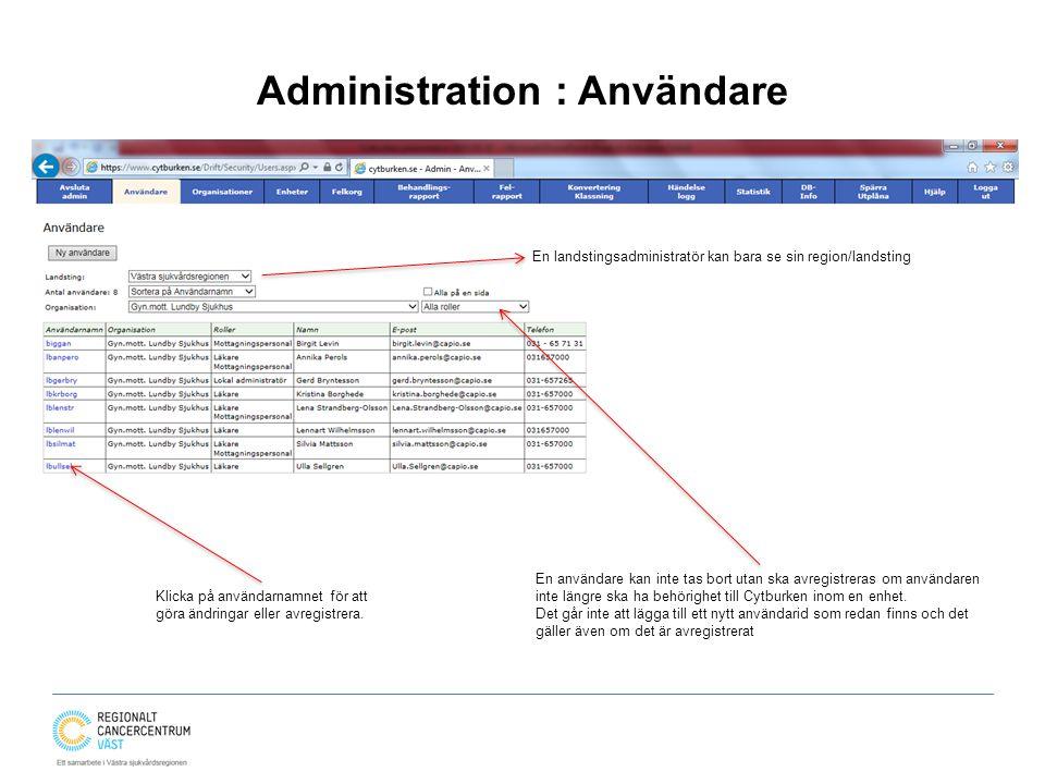 Administration : Användare En landstingsadministratör kan bara se sin region/landsting En användare kan inte tas bort utan ska avregistreras om användaren inte längre ska ha behörighet till Cytburken inom en enhet.