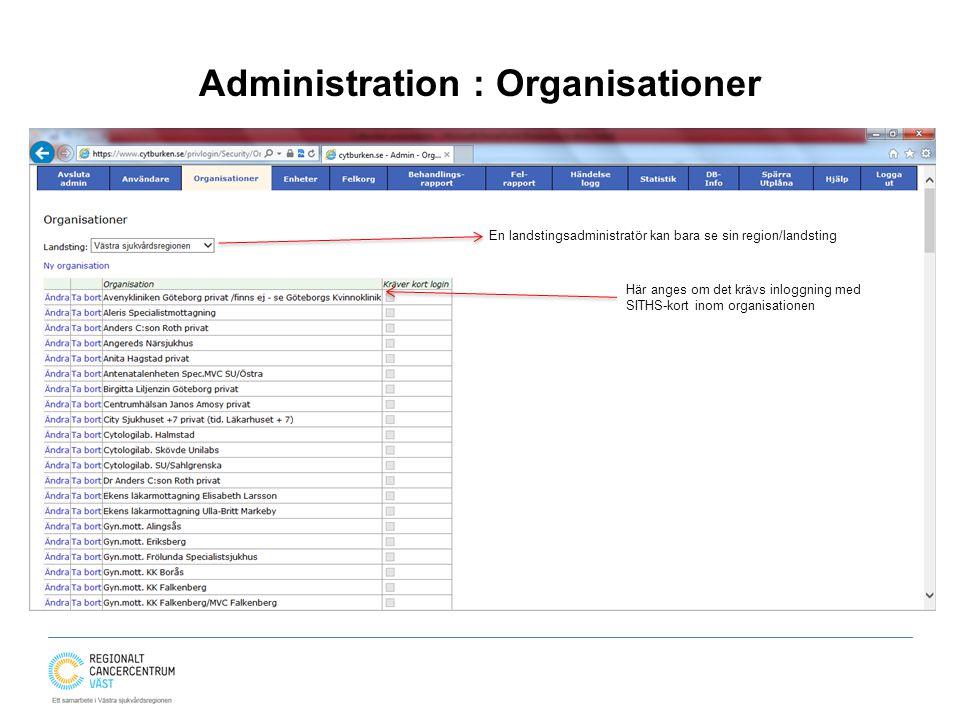 Administration : Organisationer En landstingsadministratör kan bara se sin region/landsting Här anges om det krävs inloggning med SITHS-kort inom orga