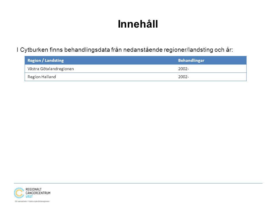 Innehåll I Cytburken finns behandlingsdata från nedanstående regioner/landsting och år: Region / LandstingBehandlingar Västra Götalandregionen2002- Region Halland2002-