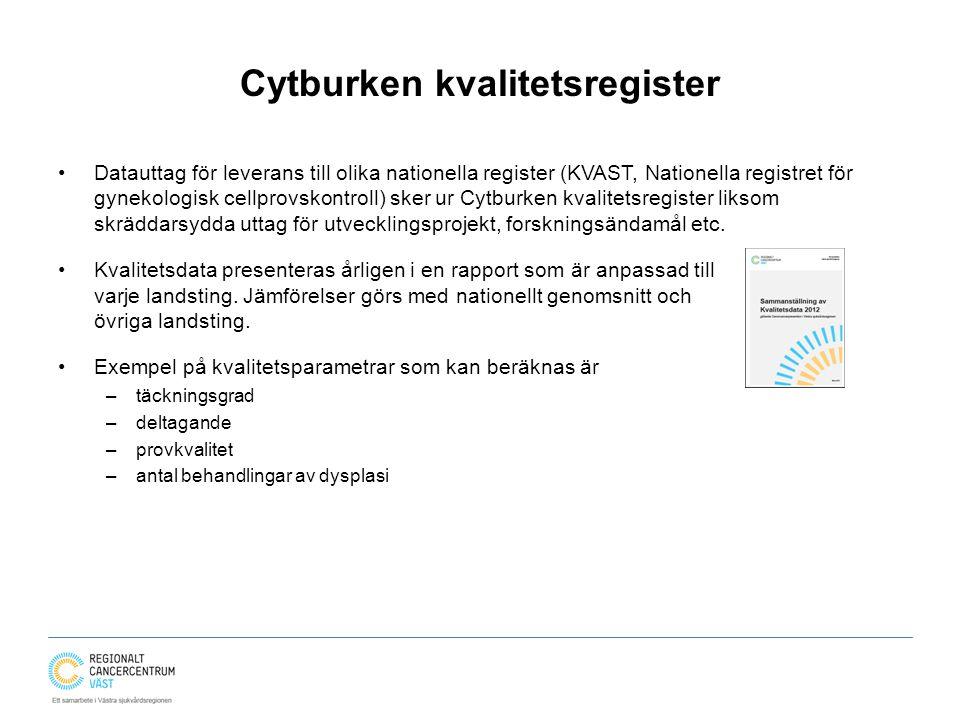 Cytburken kvalitetsregister Datauttag för leverans till olika nationella register (KVAST, Nationella registret för gynekologisk cellprovskontroll) sker ur Cytburken kvalitetsregister liksom skräddarsydda uttag för utvecklingsprojekt, forskningsändamål etc.