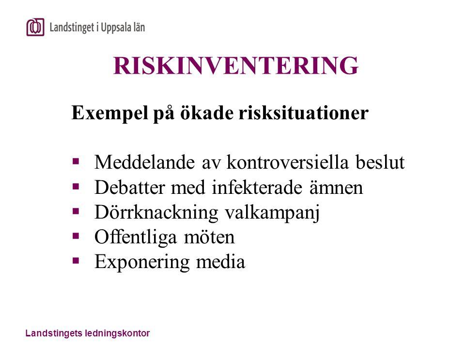Landstingets ledningskontor RISKINVENTERING Exempel på ökade risksituationer  Meddelande av kontroversiella beslut  Debatter med infekterade ämnen 