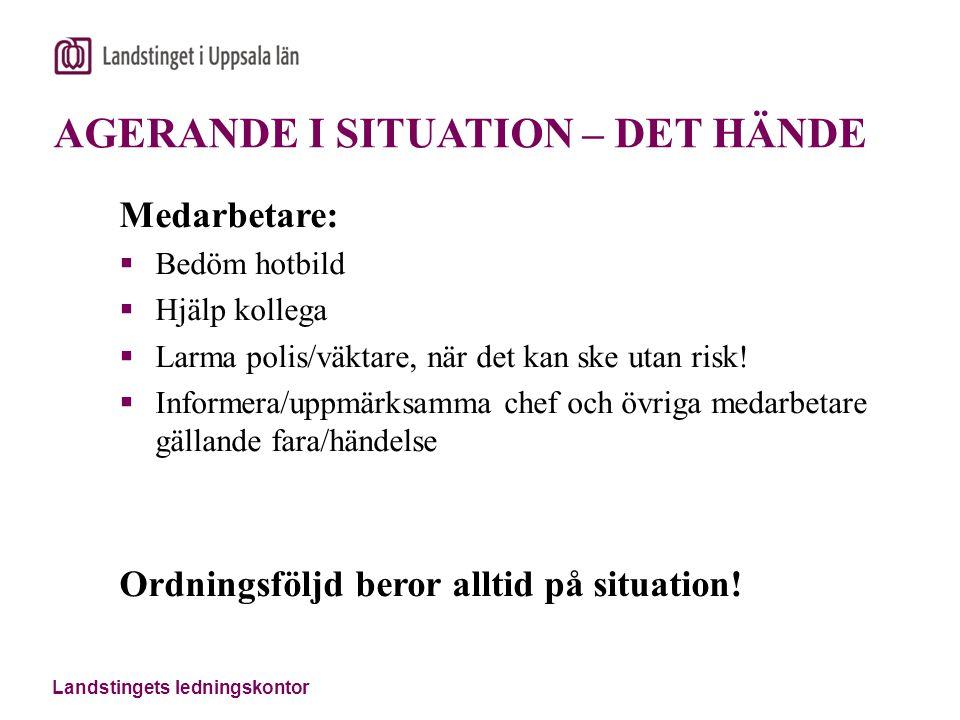 Landstingets ledningskontor AGERANDE I SITUATION – DET HÄNDE Medarbetare:  Bedöm hotbild  Hjälp kollega  Larma polis/väktare, när det kan ske utan