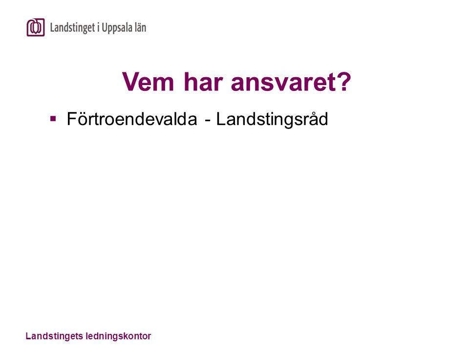 Landstingets ledningskontor Vem har ansvaret?  Förtroendevalda - Landstingsråd