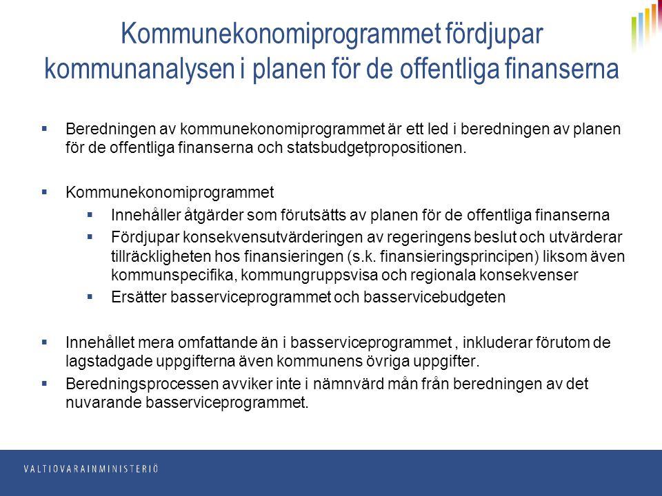 Kommunekonomiprogrammet fördjupar kommunanalysen i planen för de offentliga finanserna  Beredningen av kommunekonomiprogrammet är ett led i beredning