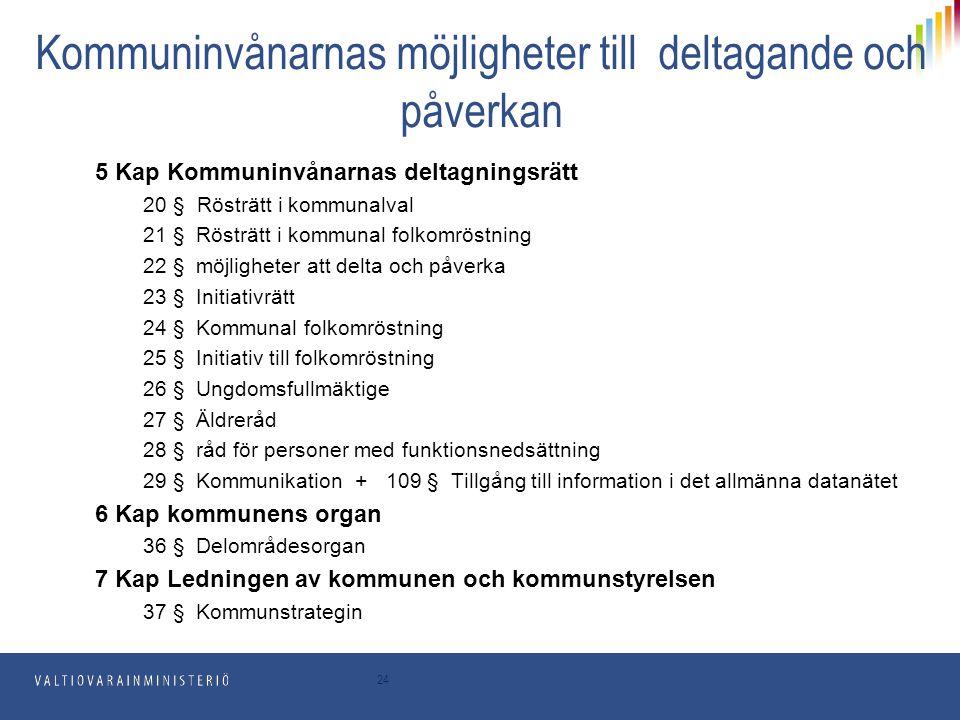 Kommuninvånarnas möjligheter till deltagande och påverkan 5 Kap Kommuninvånarnas deltagningsrätt 20 § Rösträtt i kommunalval 21 § Rösträtt i kommunal