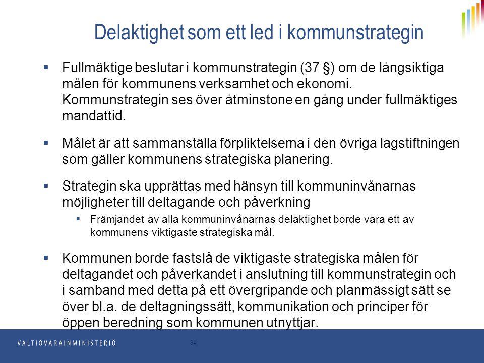 34 Delaktighet som ett led i kommunstrategin  Fullmäktige beslutar i kommunstrategin (37 §) om de långsiktiga målen för kommunens verksamhet och ekon