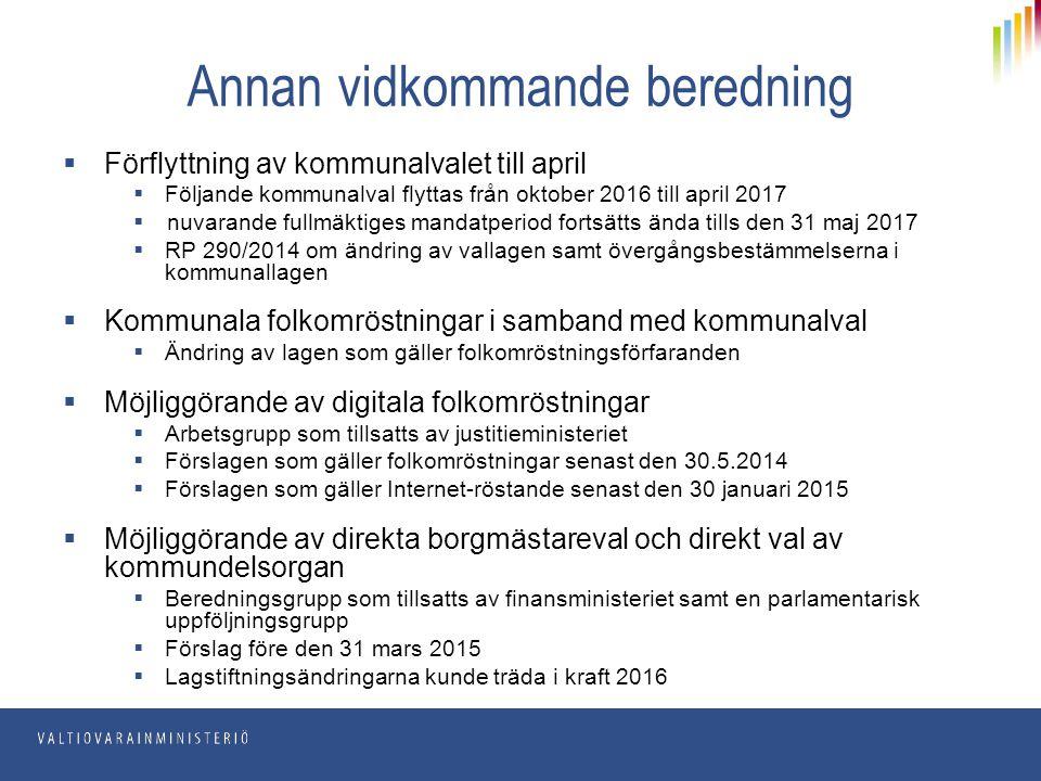 Annan vidkommande beredning  Förflyttning av kommunalvalet till april  Följande kommunalval flyttas från oktober 2016 till april 2017  nuvarande fu