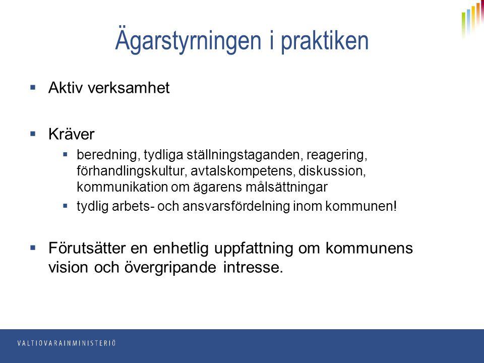 Ägarstyrningen i praktiken  Aktiv verksamhet  Kräver  beredning, tydliga ställningstaganden, reagering, förhandlingskultur, avtalskompetens, diskus