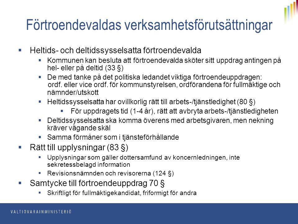 Förtroendevaldas verksamhetsförutsättningar  Heltids- och deltidssysselsatta förtroendevalda  Kommunen kan besluta att förtroendevalda sköter sitt u