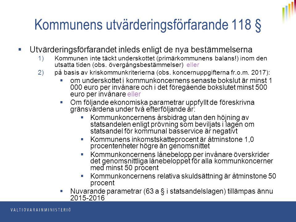 Kommunens utvärderingsförfarande 118 §  Utvärderingsförfarandet inleds enligt de nya bestämmelserna 1)Kommunen inte täckt underskottet (primärkommune