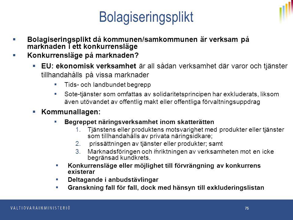 75 Bolagiseringsplikt  Bolagiseringsplikt då kommunen/samkommunen är verksam på marknaden i ett konkurrensläge  Konkurrensläge på marknaden?  EU: e
