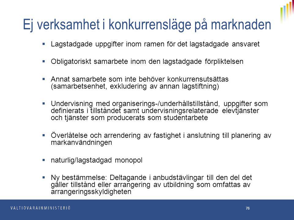 76 Ej verksamhet i konkurrensläge på marknaden  Lagstadgade uppgifter inom ramen för det lagstadgade ansvaret  Obligatoriskt samarbete inom den lags