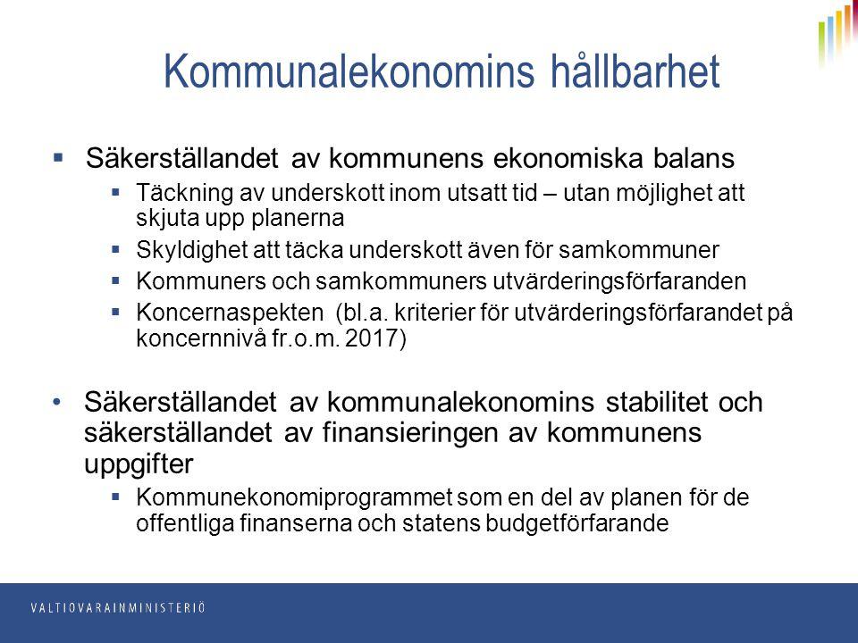 Nya kommunallagen träder i kraft 1.5.2015  Reformen föregås av över två års beredning: beredningsgrupper och en parlamentarisk uppföljningsgrupp tillsattes den 3 juli 2012  Lagutkastet på remiss under maj-augusti 2014  Regeringens proposition till ny kommunallag (RP 268/2014) till riksdagen den 27 november 2014  GrUU 63/2014, FvUB 55/2014  Kommunallagen (410/2015) träder i kraft 1.5.2015:  Ekonomibestämmelserna tillämpas från och med 2015  Från och med början av nästa fullmäktigeperiod (1.6.2017) tillämpas de nya bestämmelserna om bl.a.