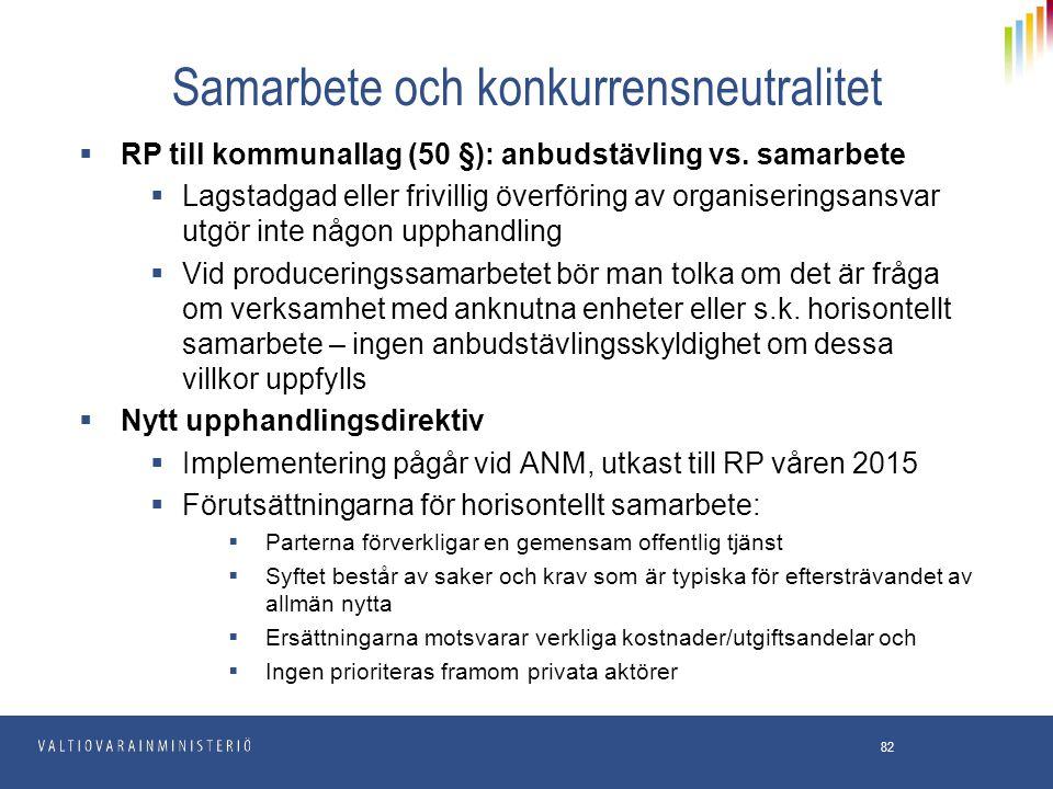 Samarbete och konkurrensneutralitet  RP till kommunallag (50 §): anbudstävling vs. samarbete  Lagstadgad eller frivillig överföring av organiserings