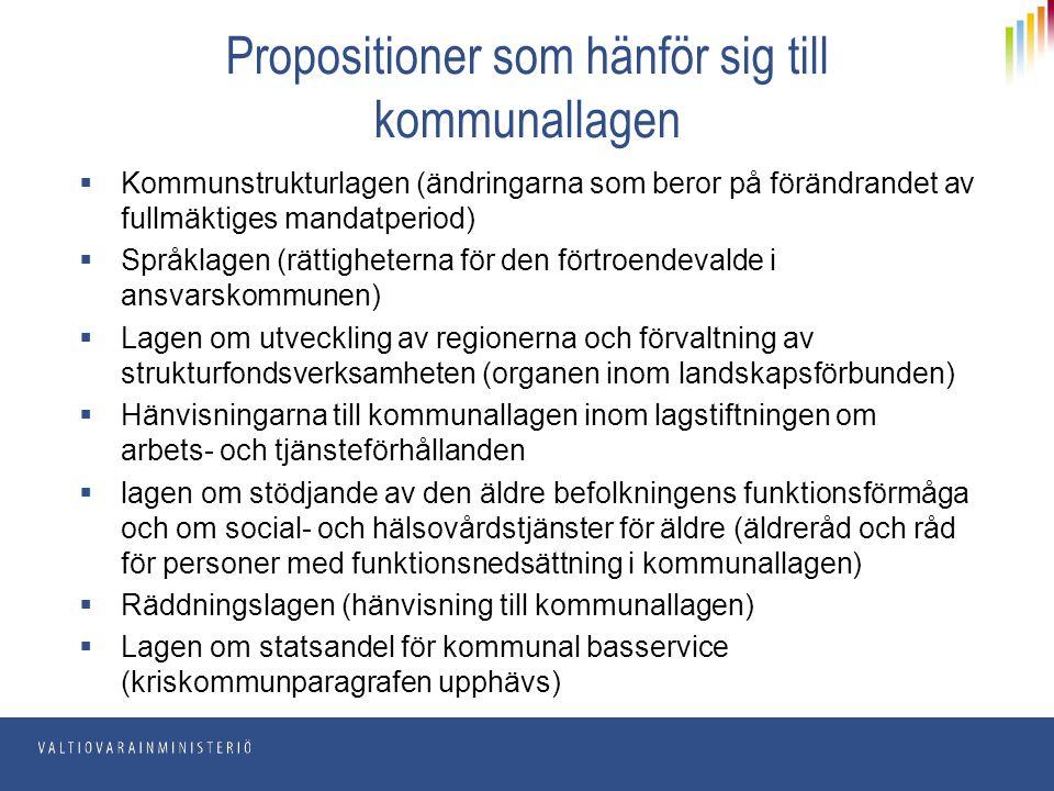 Propositioner som hänför sig till kommunallagen  Kommunstrukturlagen (ändringarna som beror på förändrandet av fullmäktiges mandatperiod)  Språklage