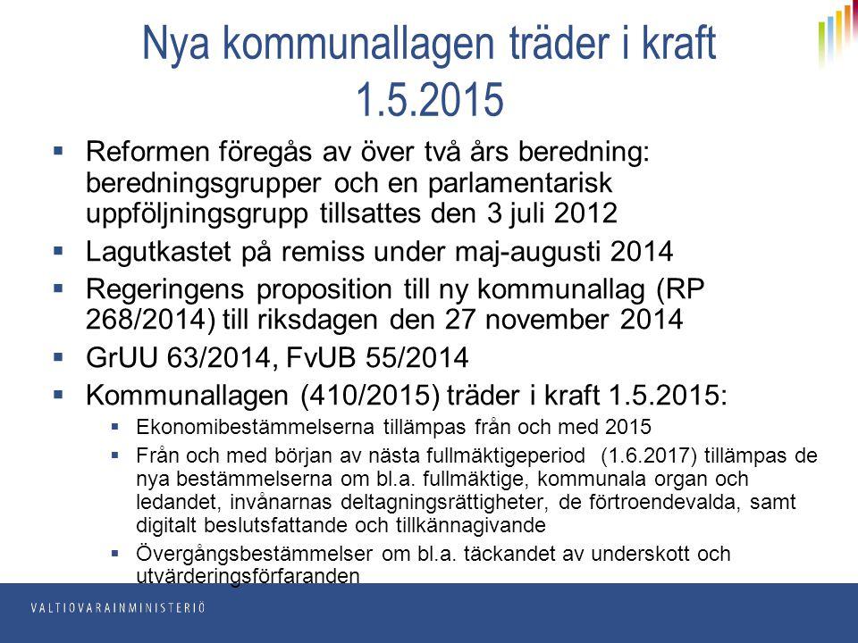 Nya kommunallagen träder i kraft 1.5.2015  Reformen föregås av över två års beredning: beredningsgrupper och en parlamentarisk uppföljningsgrupp till