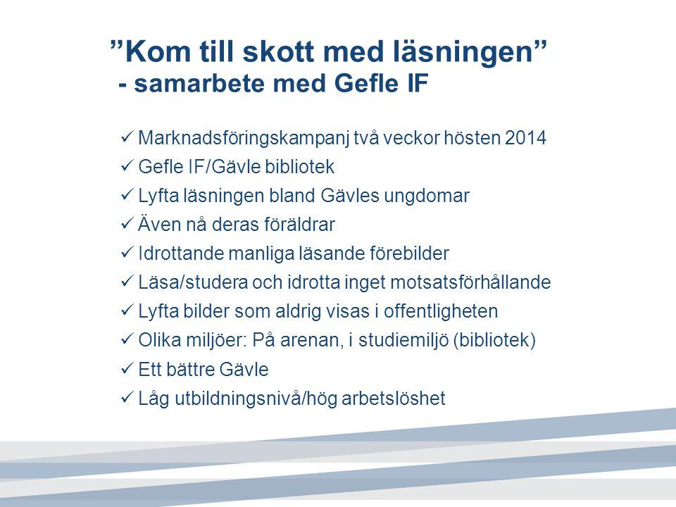 """""""Kom till skott med läsningen"""" - samarbete med Gefle IF Marknadsföringskampanj två veckor hösten 2014 Gefle IF/Gävle bibliotek Lyfta läsningen bland G"""
