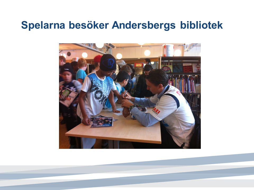 Spelarna besöker Andersbergs bibliotek