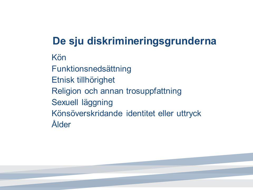 De sju diskrimineringsgrunderna Kön Funktionsnedsättning Etnisk tillhörighet Religion och annan trosuppfattning Sexuell läggning Könsöverskridande identitet eller uttryck Ålder