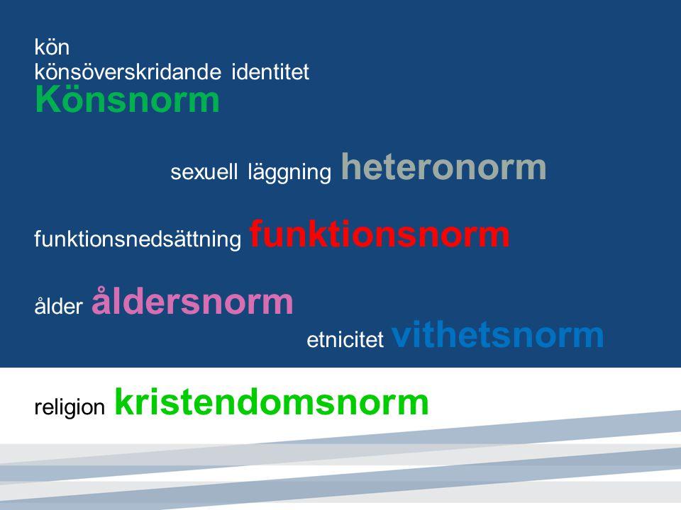 kön könsöverskridande identitet Könsnorm sexuell läggning heteronorm funktionsnedsättning funktionsnorm ålder åldersnorm etnicitet vithetsnorm religio