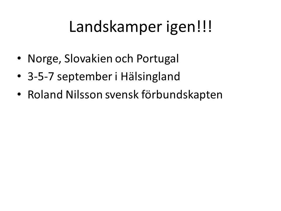 Landskamper igen!!! Norge, Slovakien och Portugal 3-5-7 september i Hälsingland Roland Nilsson svensk förbundskapten